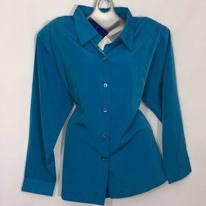 Susan Graver teal blue button down blouse NWT